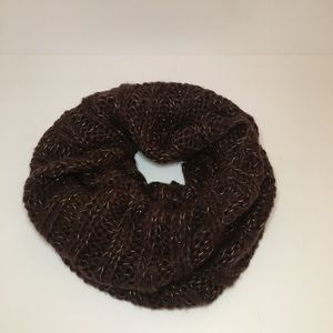 Accessories - Brown Infinity Scarf with Gold Threads